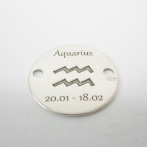 Srebro Ag  - element ozdobny znak zodiaku - Wodnik (Aquaris, 20.01-18.02) 12mm